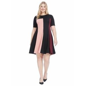 Hutch Womens 2X Pink Multi Fit And Flare Dress N21